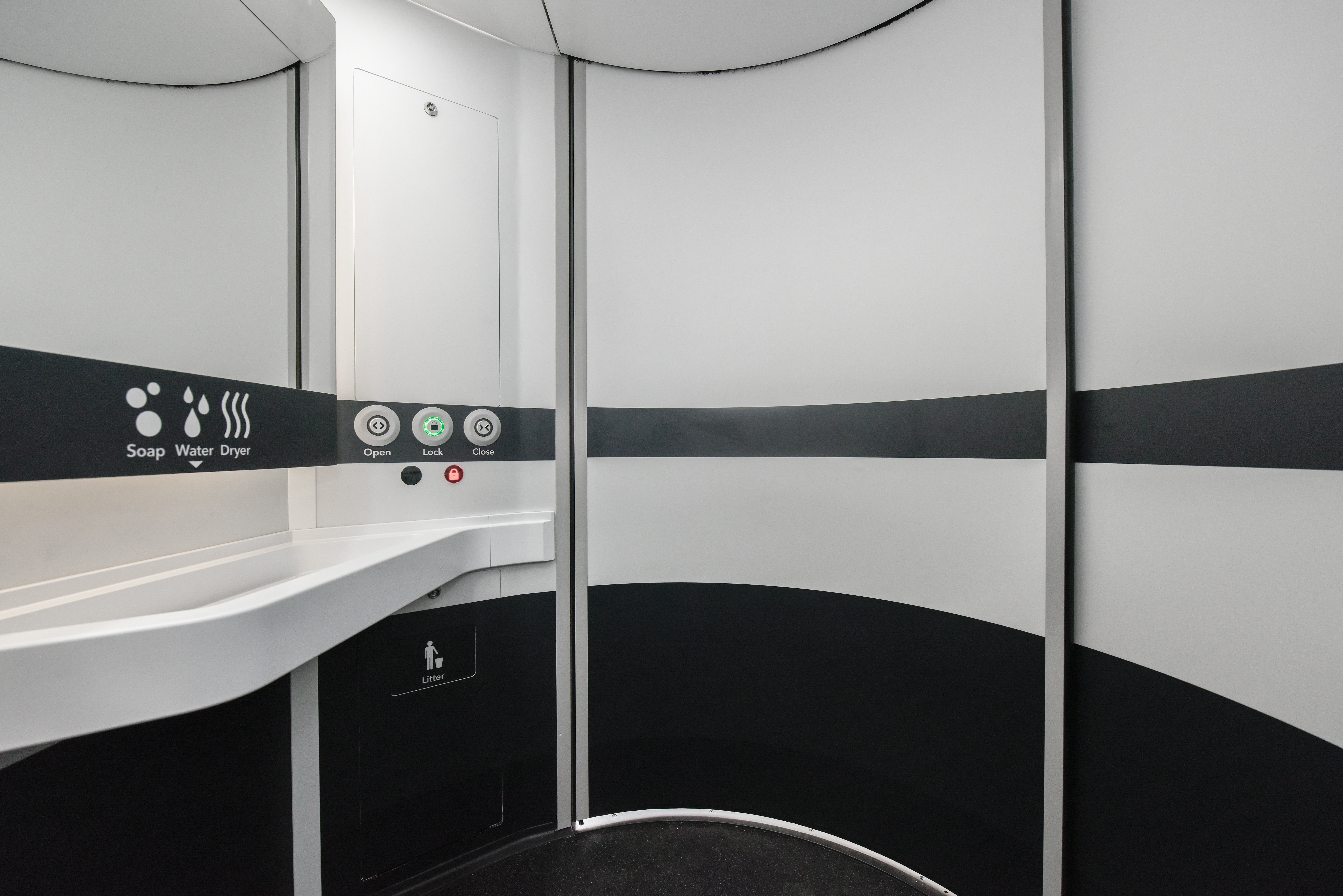 Aluminium honeycomb composite panels by BCP used for door and wall of Universal Accessible Toilet (UAT) Module