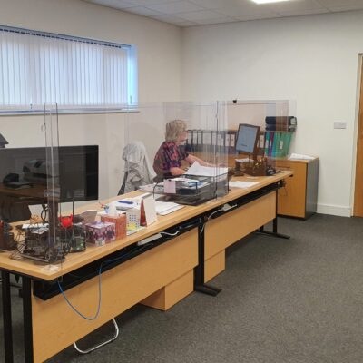 Cambridgeshire Chambers of Commerce using BCP's protective desk screens in their office
